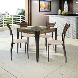 Conjunto Mesa Vidro 90X90 Com 4 Cadeiras Md05 AGLCS