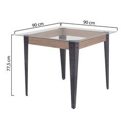 Conjunto Mesa Vidro 90X90 Com 4 Cadeiras Md05 AGLMS