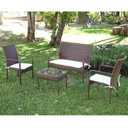 Conjunto para jardim Bianca em Aluminio Mesa de Centro 3 Poltronas e Fibra Castanho - Alegro Móveis