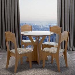 Conjunto para Sala de Jantar com Mesa Redonda e 4 Cadeiras 100% MDF  - Dalla Costa