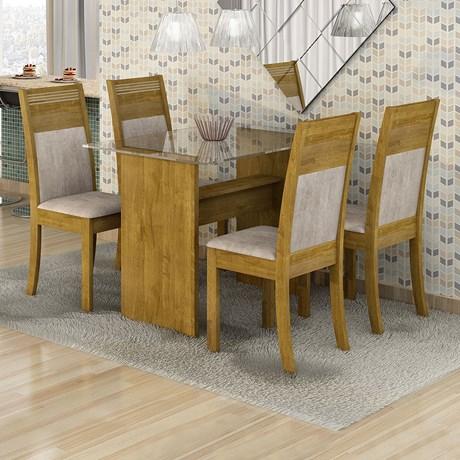 Conjunto Sala de Jantar 4 cadeiras Mesa Tampo em Vidro Mariana - Ypê/Suede Animale Cru