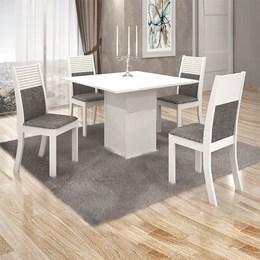 Conjunto Sala de Jantar Branco Mesa Tampo MDF/Vidro Napoli e 4 Cadeiras Havaí - Leifer