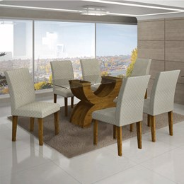Conjunto Sala de Jantar Canela Mesa Tampo de Vidro 160cm e 6 Cadeiras Olímpia - Leifer
