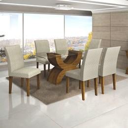 Conjunto Sala de Jantar Canela Mesa Tampo de Vidro 180cm e 6 Cadeiras Olímpia - Leifer