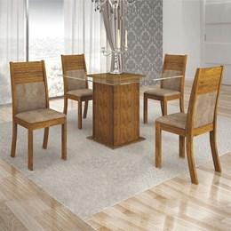 Conjunto Sala de Jantar Canela Mesa Tampo de Vidro Napoli e 4 Cadeiras Havaí - Leifer