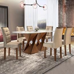 Conjunto Sala de Jantar Canyon 6 Cadeiras Villa Rica Chocolate/Suede Pena