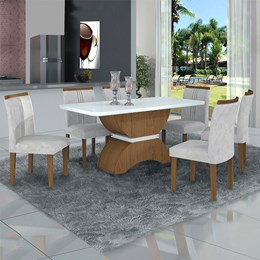 Conjunto Sala de Jantar Imbuia Mel/Branco/Branco Mesa Tampo MDF/Vidro e 6 Cadeiras Atenas Veludo - Leifer
