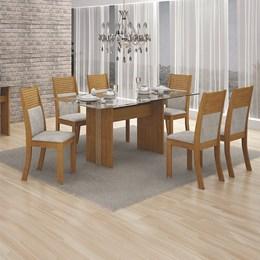 Conjunto Sala de Jantar Imbuia Mel Mesa Tampo Vidro 160cm 6 Cadeiras Hawaí - Leifer