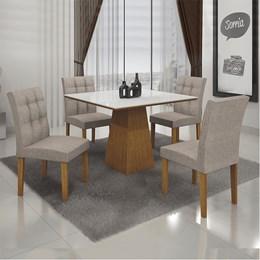 Conjunto Sala de Jantar Mel Mesa Tampo MDF/Vidro 4 Cadeiras Itália Imbuia - Leifer