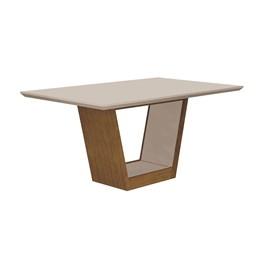 Conjunto Sala de Jantar Mel/Offwhite/Offwhite Mesa Tampo MDF/Vidro e 6 Cadeiras Alemanha Flex Color Imbuia - Leifer