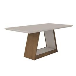 Conjunto Sala de Jantar Mel Offwhite/Offwhite Mesa Tampo MDF/Vidro e 6 Cadeiras Gênova Imbuia Leifer