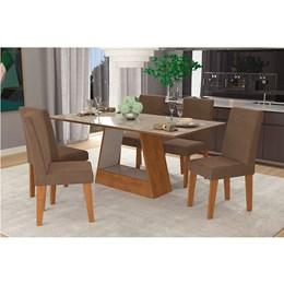 Conjunto Sala de Jantar Mesa Chocolate Alana 6 Cadeiras Milena - Cimol Savana