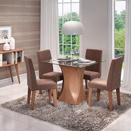 Conjunto Sala de Jantar Mesa Chocolate Andráia 4 Cadeiras Milena - Cimol Savana