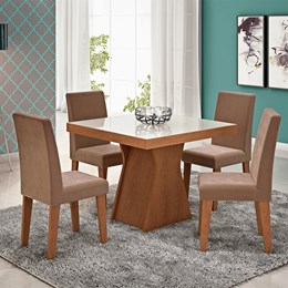 Conjunto Sala de Jantar Mesa Chocolate Quadrada Tampo Vidro 4 Cadeiras Olivia - Cimol Savana