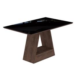 Conjunto Sala de Jantar Mesa Chocolate Tampo em Vidro Alana 4 Cadeiras Milena - Cimol Marrocos