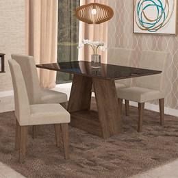 Conjunto Sala de Jantar Mesa Suede Bege Alana Tampo de Vidro 4 Cadeiras Milena - Cimol Marrocos
