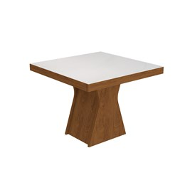 Conjunto Sala de Jantar Mesa Suede Bege Quadrada Tampo Vidro 4 Cadeiras Olivia - Cimol Savana