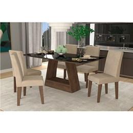 Conjunto Sala de Jantar Mesa Suede Bege Tampo em Vidro Alana 6 Cadeiras Milena - Cimol Marrocos