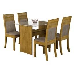 Conjunto Sala de Jantar Mesa Tampo em Vidro 4 cadeiras Mariana - Ypê/Suede Animale Bege