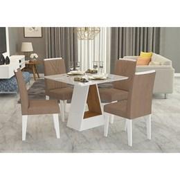 Conjunto Sala de Jantar Mesa Tampo em Vidro Alana 4 Cadeiras Nicole Cimol