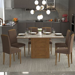 Conjunto Sala De Jantar Rafaela 6 Cadeiras Vanessa Savana/Offwhite/Chocolate - Cimol