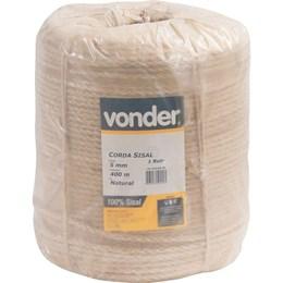 Corda de sisal 5 mm com rolo de 400 metros - Vonder