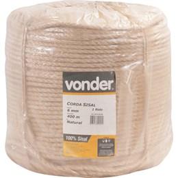 Corda de sisal 6 mm com rolo de 400 metros - Vonder