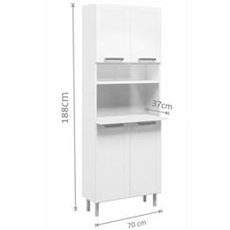 Cozinha Compacta Com Balcão Torre Quente 4 Peças Com 3 Vidros Múltipla Branco - Bertolini