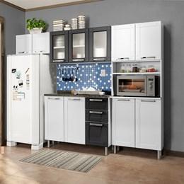 Cozinha Compacta Com Balcão Torre Quente 4 Peças Com 3 Vidros Múltipla Branco Preto - Bertolini