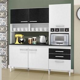 Cozinha Compacta Ébano 6 Portas e 2 Gavetas Branco e Preto Linho