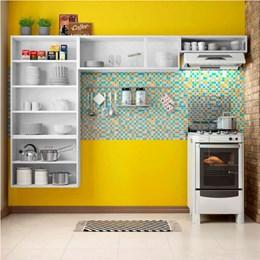 Cozinha Compacta sem Balcão Com 2 Vidros 3 Peças Múltipla Branco Preto - Bertolini