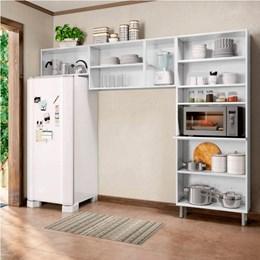 Cozinha Compacta sem Balcão Torre Quente 3 Peças Com 3 Vidros Múltipla Branco Preto - Bertolini