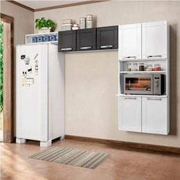 Cozinha Compacta sem Balcão Torre Quente 3 Peças Múltipla Branco Preto - Bertolini