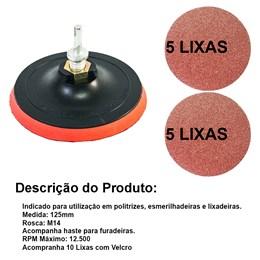 Disco De Borracha C/velc. 125mm Com 10 Lixas 180 E Haste Adaptada - MTX