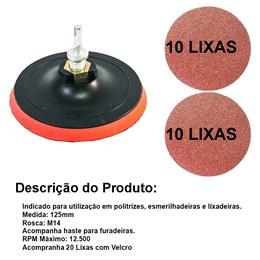 Disco De Borracha C/velc. 125mm Com 20 Lixas 100/120 E Haste Adaptada - MTX