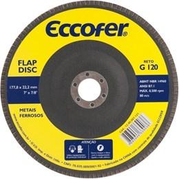 Disco de Desbaste E  Acabamento Flap-Disc Reto 7 Grão 120 Costado de Fibra ECCOFER