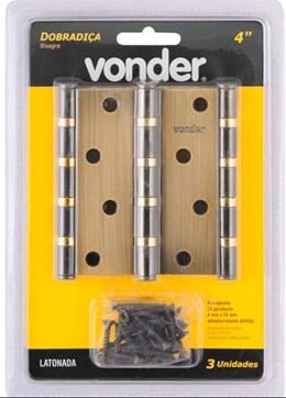 """Dobradiça 4"""" anel rolamento latonada com 3 peças - Vonder"""