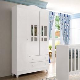 Dormitório Ariel Guarda Roupa Infantil 3 Portas Cômoda Berço - Carolina Baby