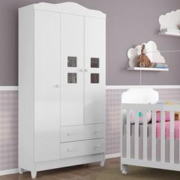Dormitório Carol Guarda Roupa Infantil 3 Portas Cômoda Fraldário Berço Lucca - Carolina Baby
