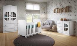 Dormitório Luizzi Guarda Roupa Infantil 2 Portas Cômoda Fraldário Berço Lucca - Carolina Baby