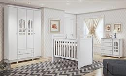 Dormitório Selena Guarda Roupa Infantil 4 Portas Cômoda Fraldário Berço Mini Cama Mirelli - Carolina Baby