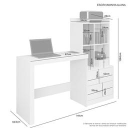 Escrivaninha Mesa com Estante 2 Gavetas Alana JCM Móveis Branco
