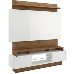 Estante Home P/Tv Até 55 Pol. 2 Portas De Correr C/Led Off White/Nobre Dalla Costa