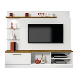 Estante Home P/ TV até 65 Pol Branco/Mel  com LED 1 Gaveta Flórida