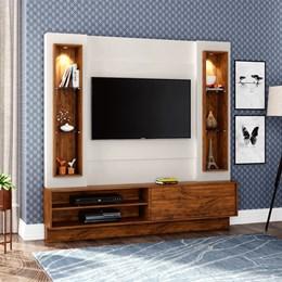 Estante Home Para Tv Até 42 Polegadas 1 Porta De Correr E Led Off White/Nobre
