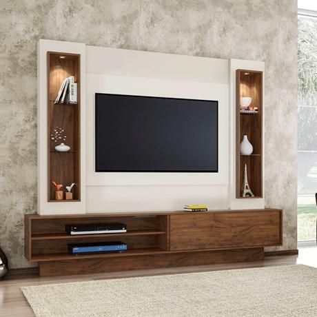 Estante Home Para Tv Até 46 Polegadas 1 Porta De Correr E Led Off White/Nobre