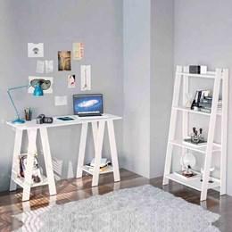 Estante Livreiro e Mesa Para Computador Delta Branco - Politorno