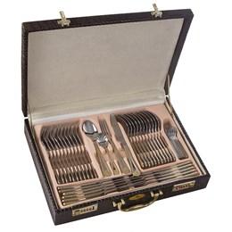Faqueiro Inox Luxo 84 Peças Dourado com Maleta