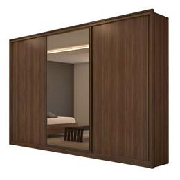 Guarda Roupa Casal Spazio Glass C/Espelho 3 Portas 6 Gavetas Imbuia Naturale/Off White - Lopas