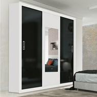 Guarda-Roupa Ibiza Plus 3 Portas e 3 Gavetas Com Espelho Branco e Preto - Valverde Móveis
